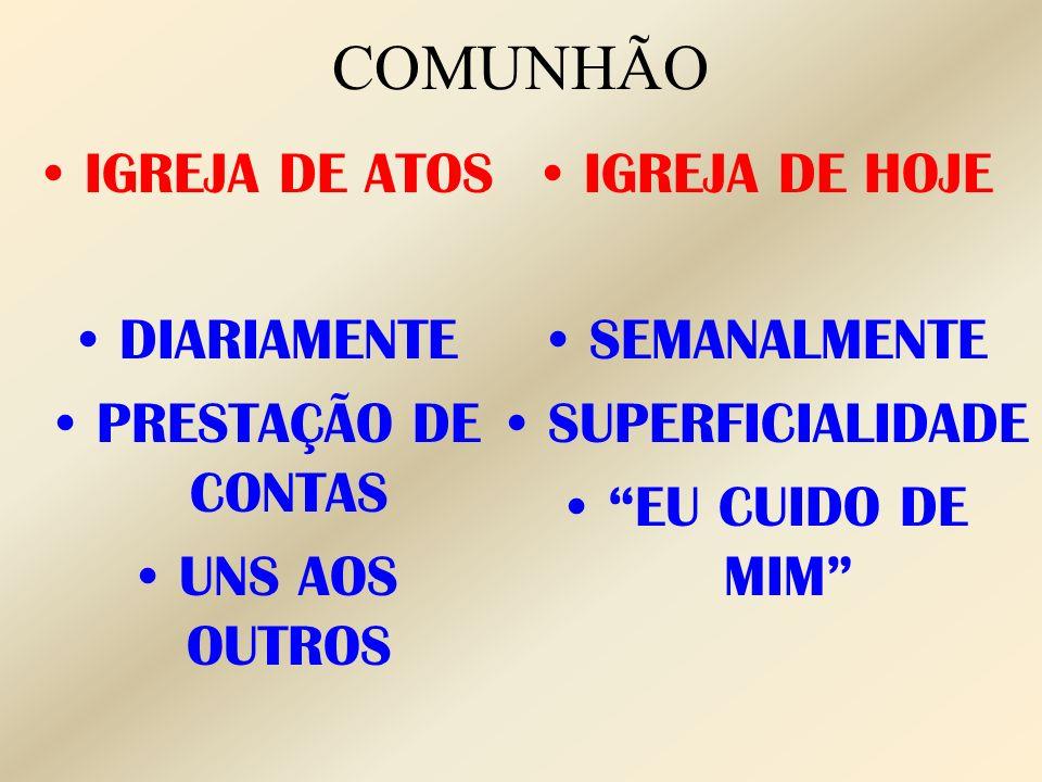 COMUNHÃO IGREJA DE ATOS DIARIAMENTE PRESTAÇÃO DE CONTAS UNS AOS OUTROS