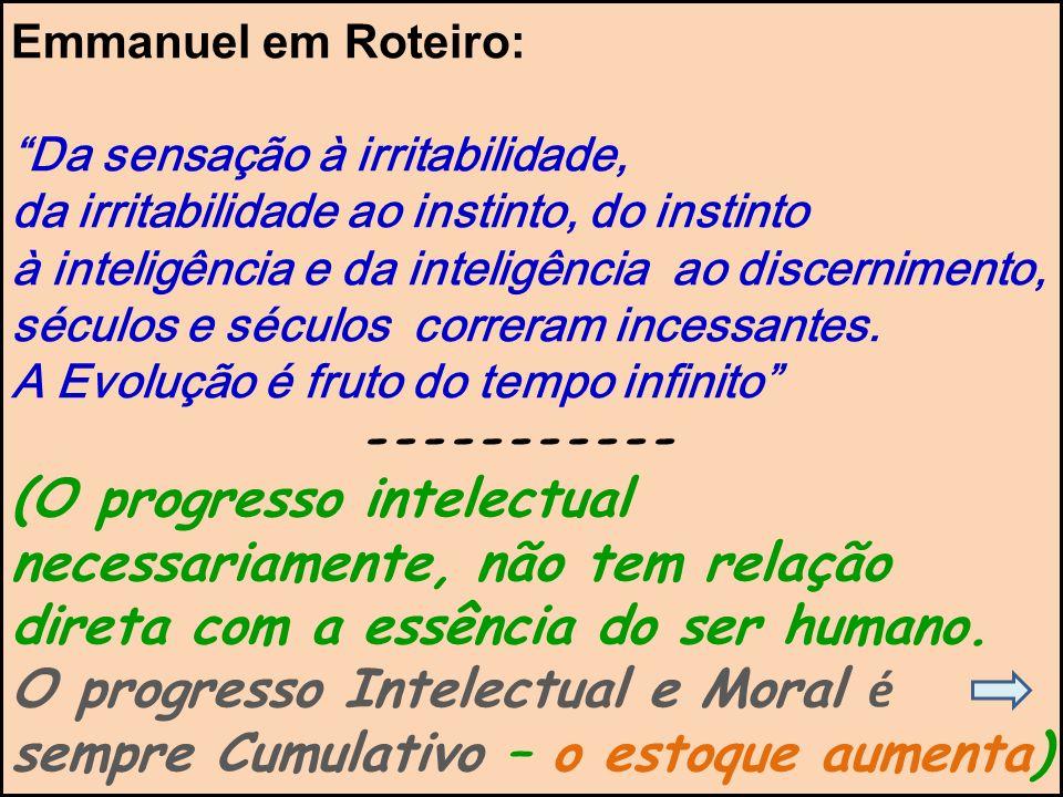 Emmanuel em Roteiro: Da sensação à irritabilidade, da irritabilidade ao instinto, do instinto.
