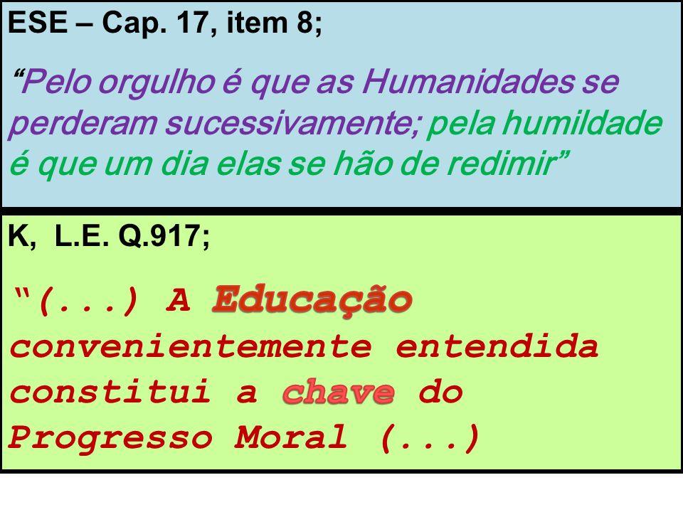 ESE – Cap. 17, item 8; Pelo orgulho é que as Humanidades se perderam sucessivamente; pela humildade é que um dia elas se hão de redimir