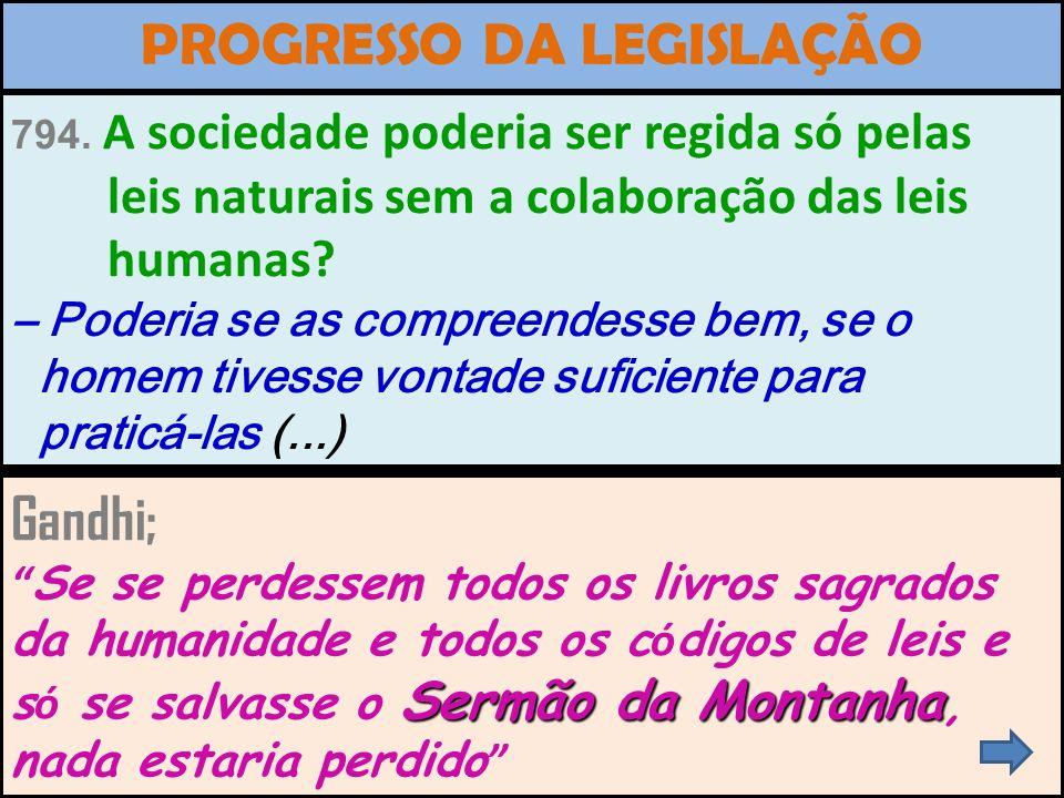 PROGRESSO DA LEGISLAÇÃO HUMANA