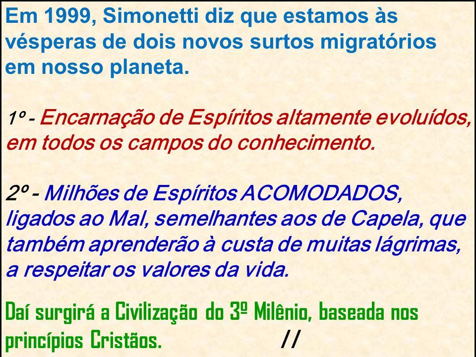 Em 1999, Simonetti diz que estamos às vésperas de dois novos surtos migratórios em nosso planeta.