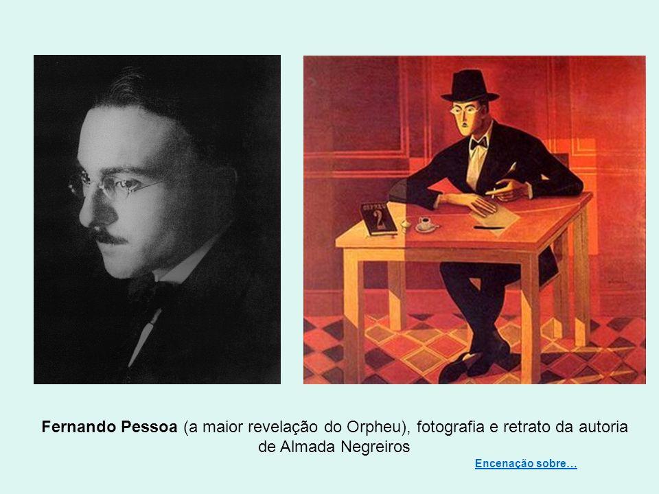 Fernando Pessoa (a maior revelação do Orpheu), fotografia e retrato da autoria de Almada Negreiros
