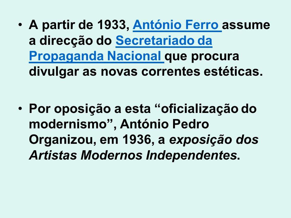A partir de 1933, António Ferro assume a direcção do Secretariado da Propaganda Nacional que procura divulgar as novas correntes estéticas.
