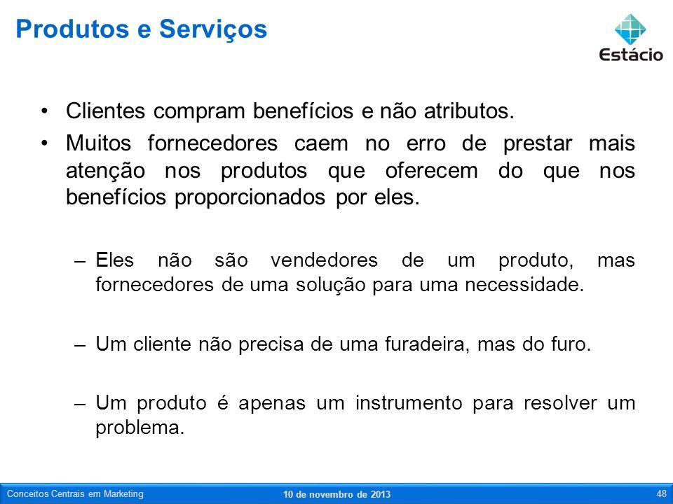 Produtos e Serviços Clientes compram benefícios e não atributos.