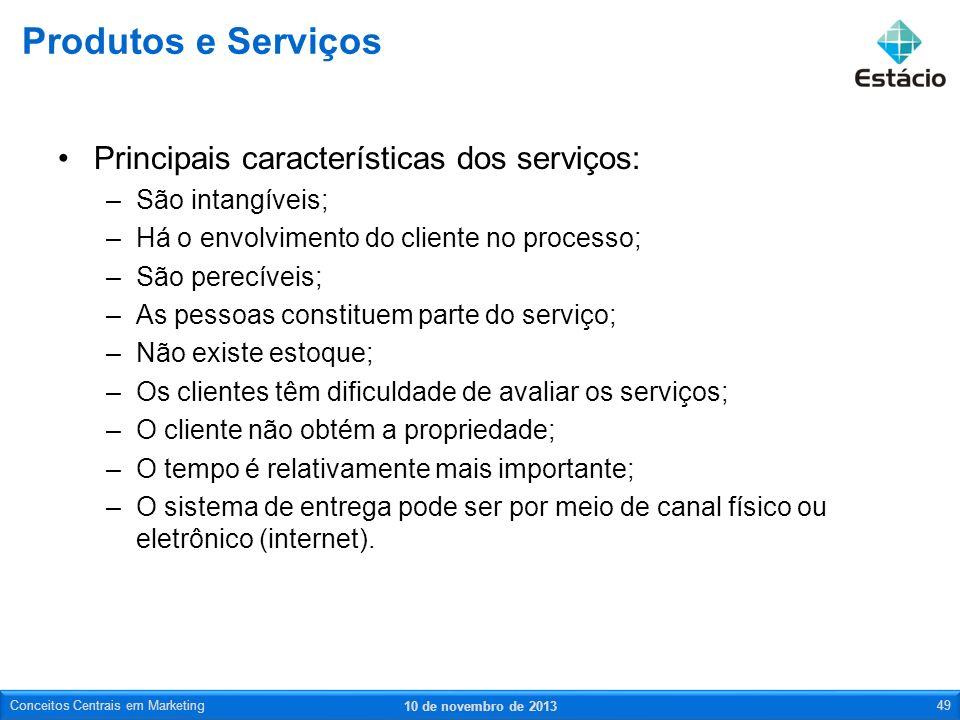 Produtos e Serviços Principais características dos serviços: