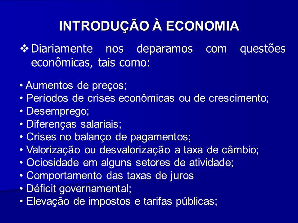 INTRODUÇÃO À ECONOMIA Diariamente nos deparamos com questões econômicas, tais como: Aumentos de preços;