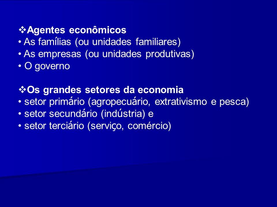 Agentes econômicos As famílias (ou unidades familiares) As empresas (ou unidades produtivas) O governo.