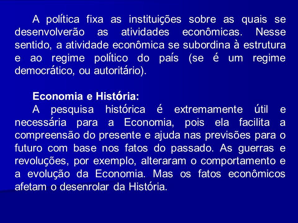 A política fixa as instituições sobre as quais se desenvolverão as atividades econômicas. Nesse sentido, a atividade econômica se subordina à estrutura e ao regime político do país (se é um regime democrático, ou autoritário).