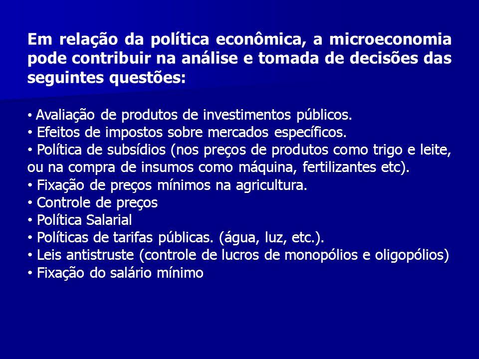 Em relação da política econômica, a microeconomia pode contribuir na análise e tomada de decisões das seguintes questões: