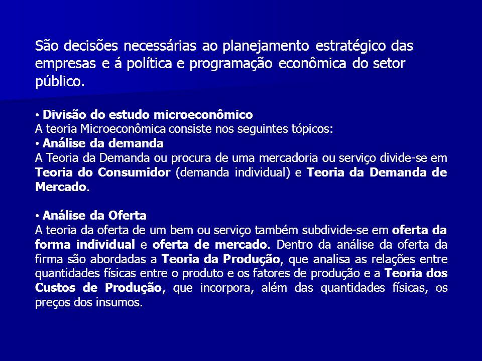 São decisões necessárias ao planejamento estratégico das empresas e á política e programação econômica do setor público.