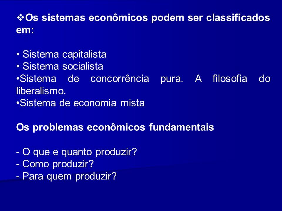 Os sistemas econômicos podem ser classificados em: