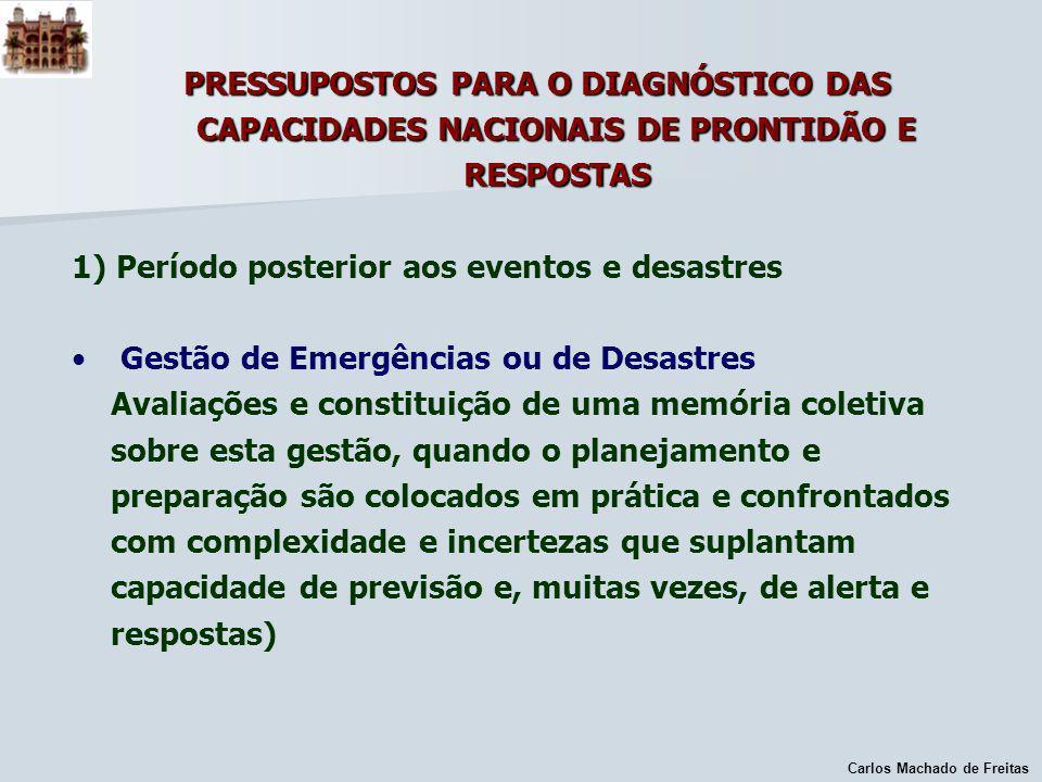 1) Período posterior aos eventos e desastres