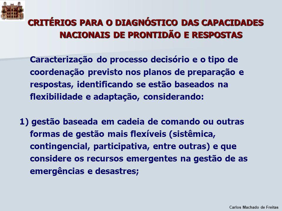 CRITÉRIOS PARA O DIAGNÓSTICO DAS CAPACIDADES NACIONAIS DE PRONTIDÃO E RESPOSTAS