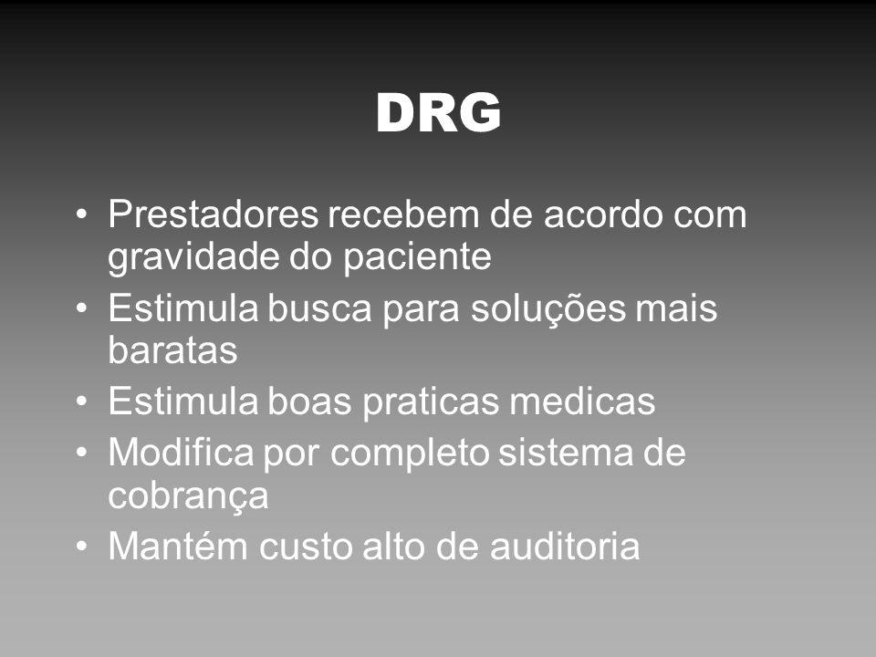 DRG Prestadores recebem de acordo com gravidade do paciente