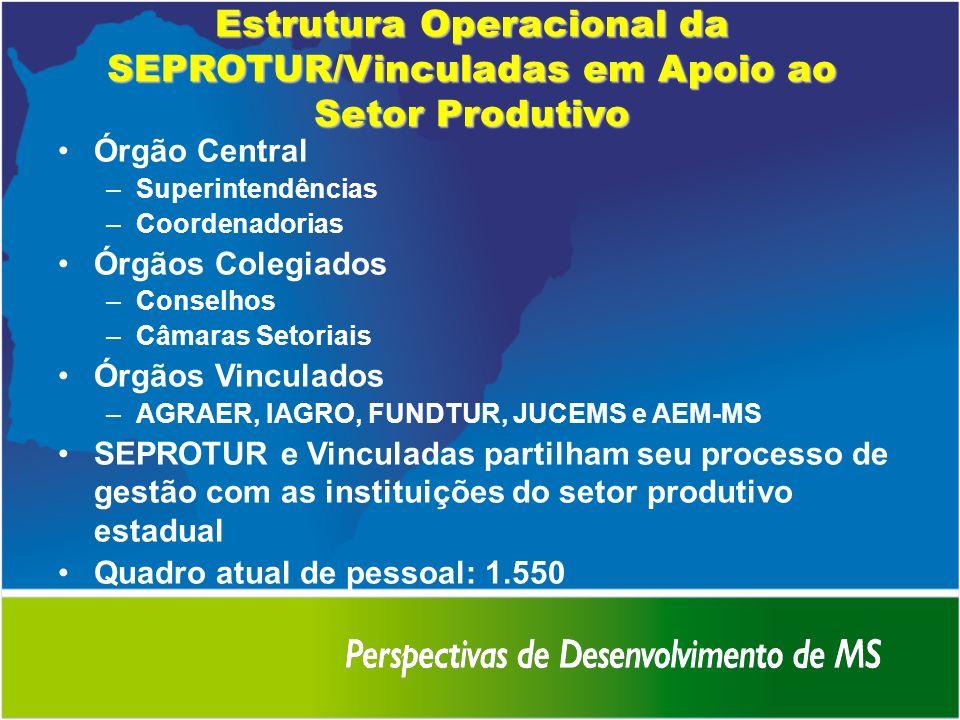 Estrutura Operacional da SEPROTUR/Vinculadas em Apoio ao Setor Produtivo