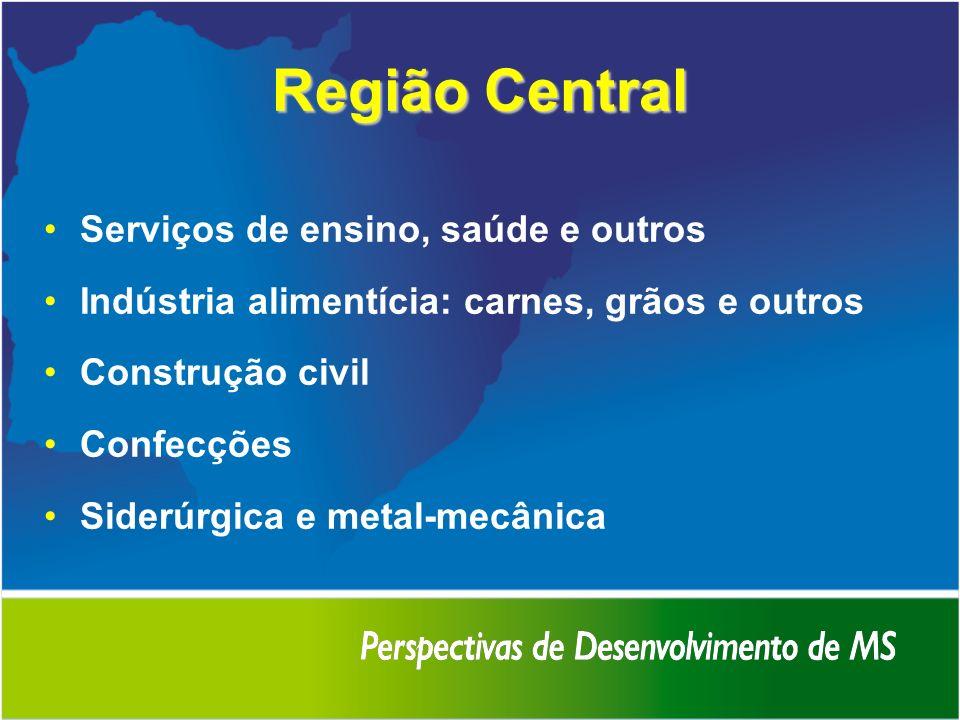 Região Central Serviços de ensino, saúde e outros