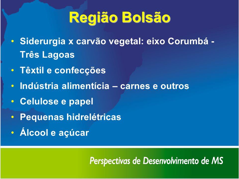 Região Bolsão Siderurgia x carvão vegetal: eixo Corumbá - Três Lagoas