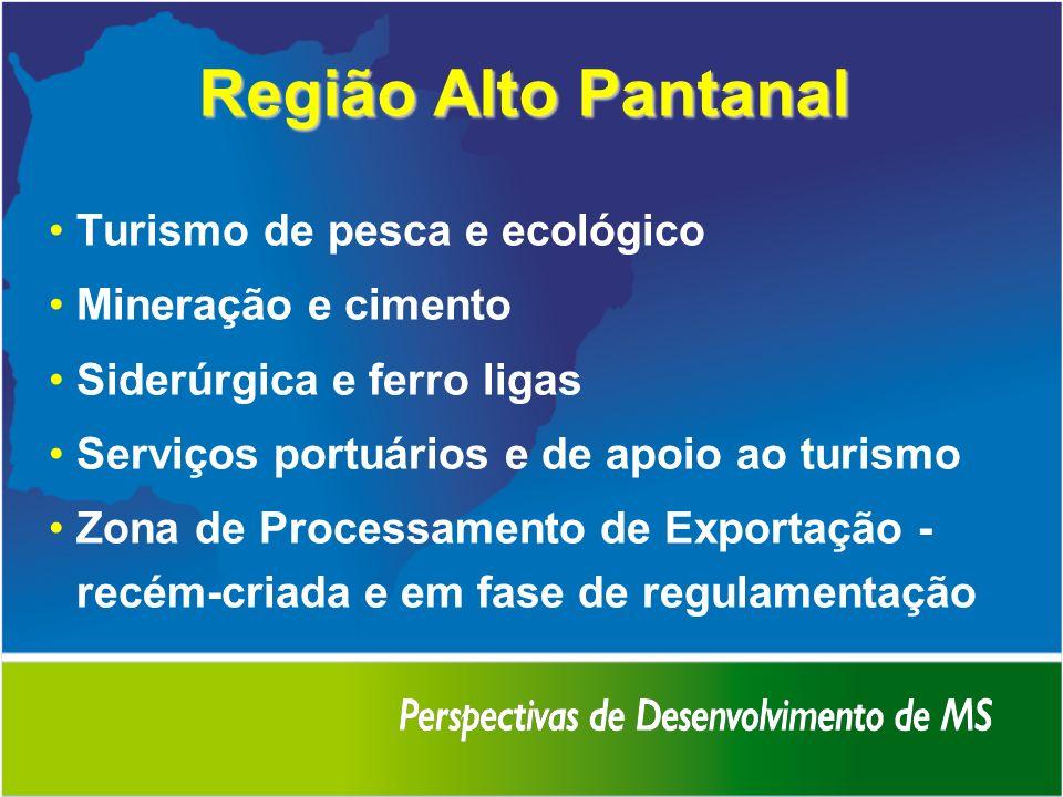 Região Alto Pantanal Turismo de pesca e ecológico Mineração e cimento