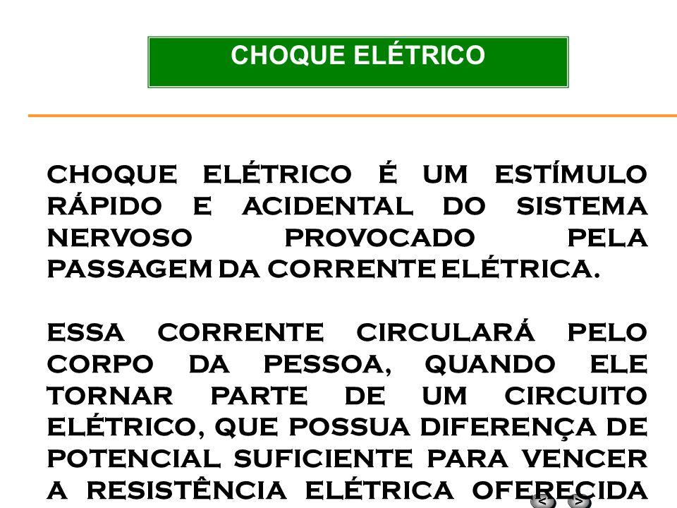 CHOQUE ELÉTRICO CHOQUE ELÉTRICO É UM ESTÍMULO RÁPIDO E ACIDENTAL DO SISTEMA NERVOSO PROVOCADO PELA PASSAGEM DA CORRENTE ELÉTRICA.
