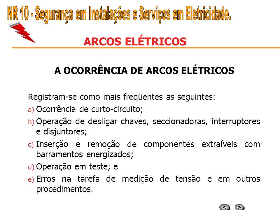 A OCORRÊNCIA DE ARCOS ELÉTRICOS