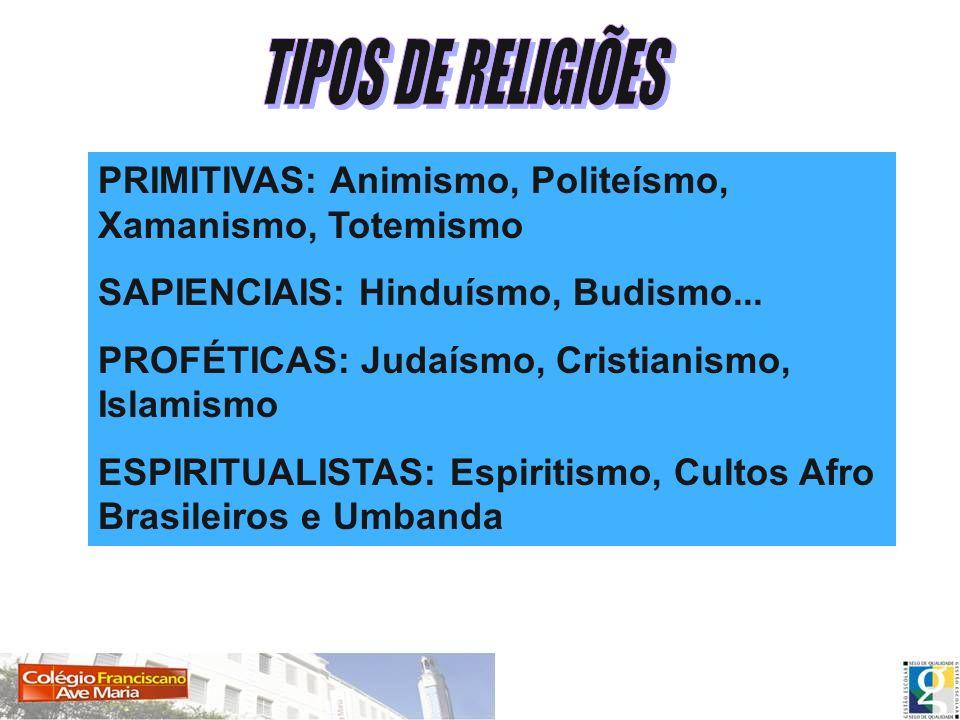 TIPOS DE RELIGIÕES PRIMITIVAS: Animismo, Politeísmo, Xamanismo, Totemismo.