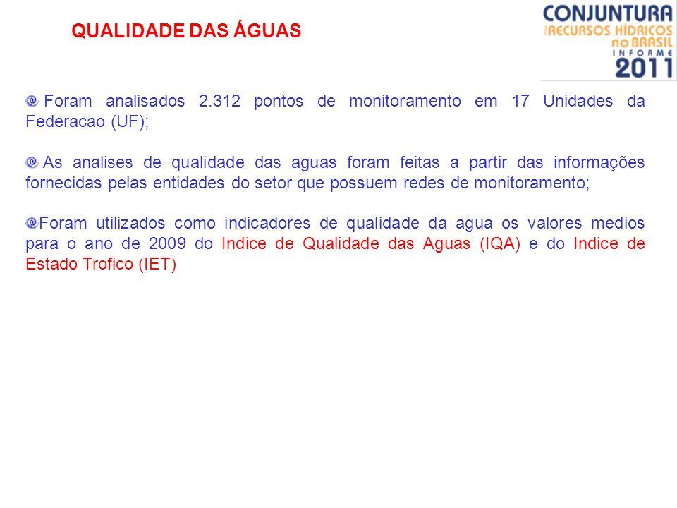 QUALIDADE DAS ÁGUASForam analisados 2.312 pontos de monitoramento em 17 Unidades da Federacao (UF);