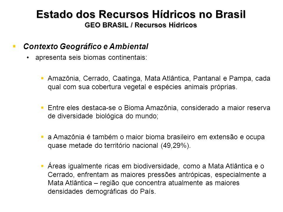 Estado dos Recursos Hídricos no Brasil GEO BRASIL / Recursos Hídricos