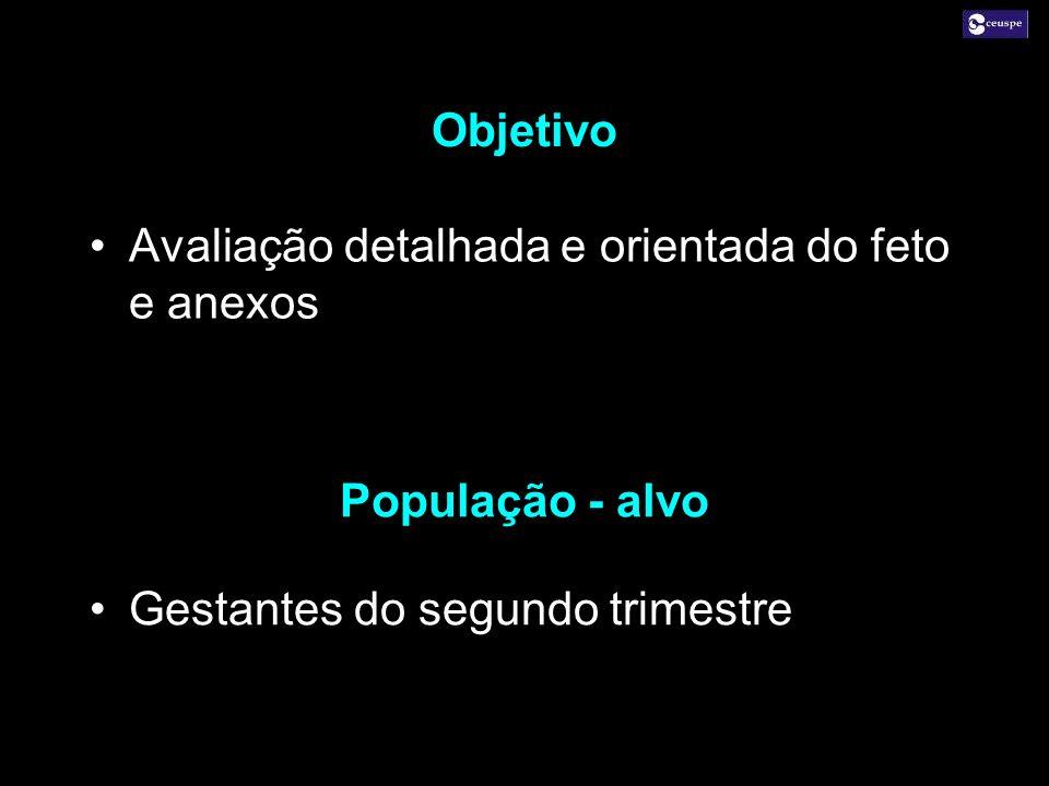 Objetivo Avaliação detalhada e orientada do feto e anexos.