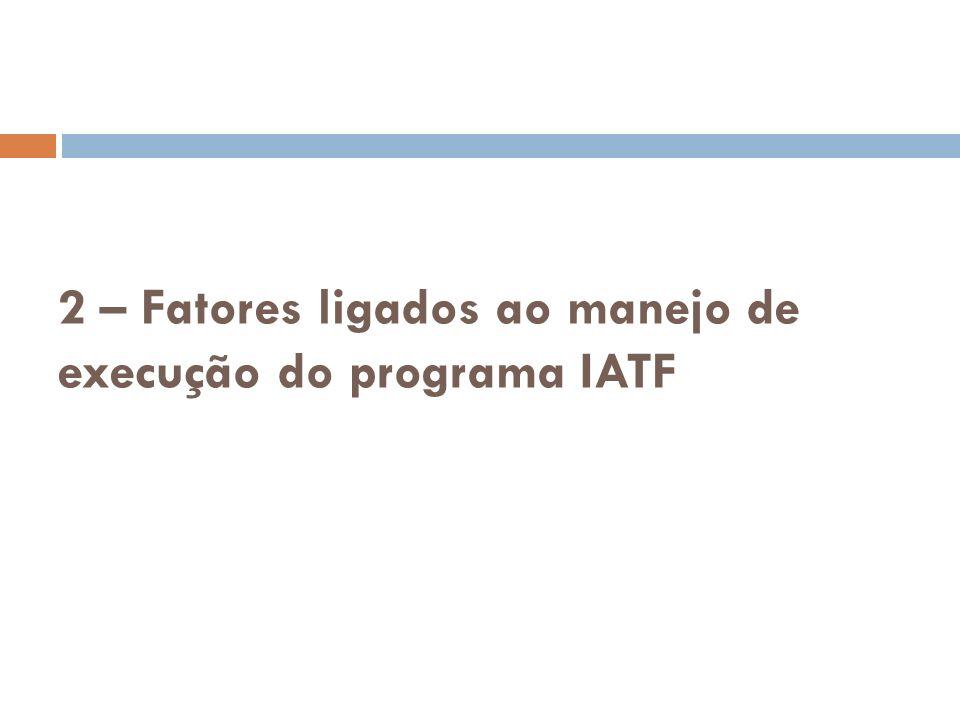 2 – Fatores ligados ao manejo de execução do programa IATF