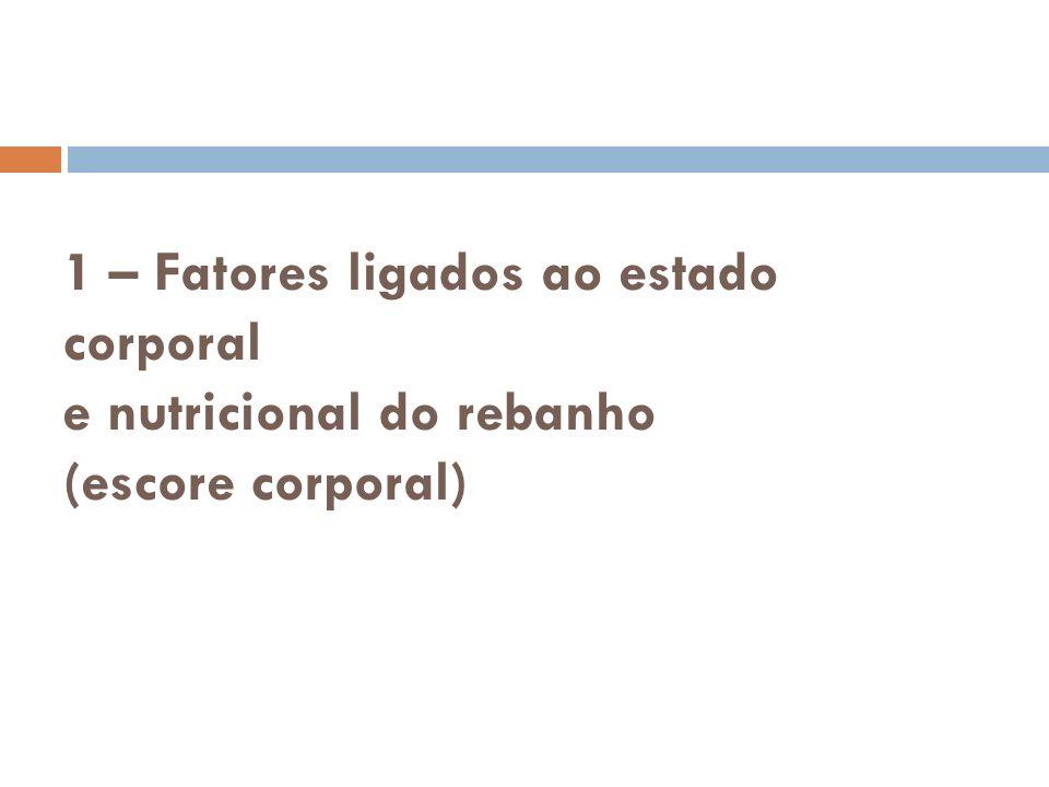 1 – Fatores ligados ao estado corporal e nutricional do rebanho (escore corporal)