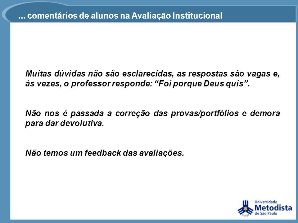 ... comentários de alunos na Avaliação Institucional