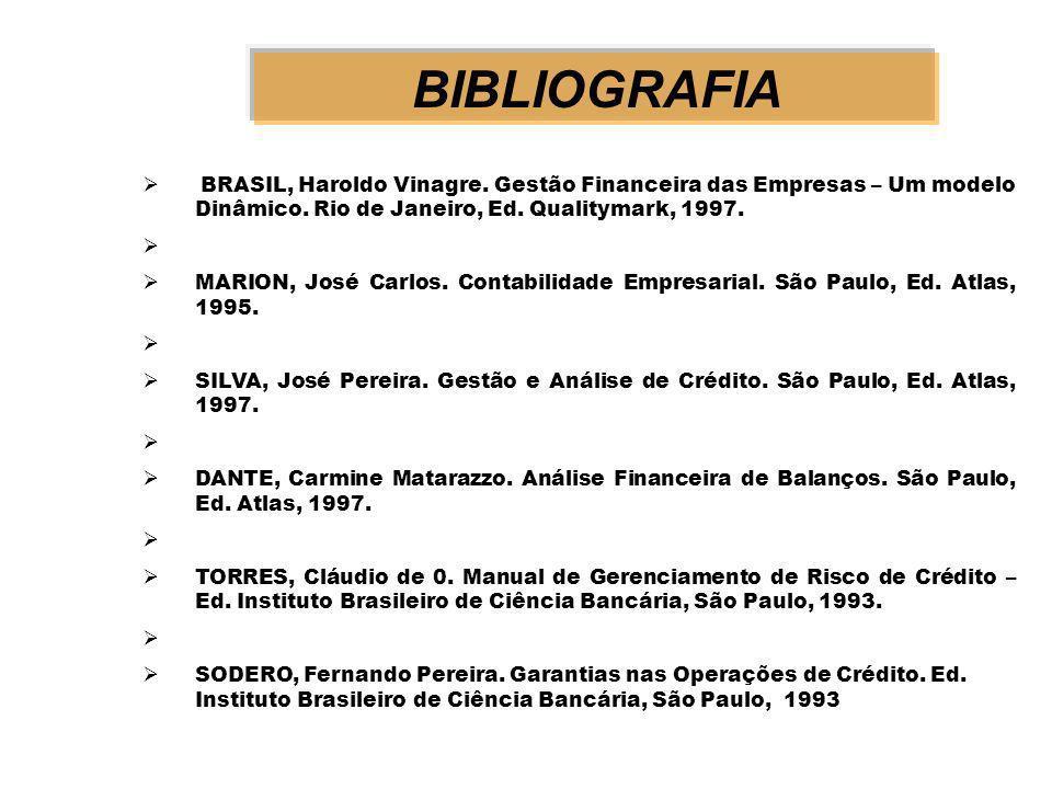 BIBLIOGRAFIA BRASIL, Haroldo Vinagre. Gestão Financeira das Empresas – Um modelo Dinâmico. Rio de Janeiro, Ed. Qualitymark, 1997.