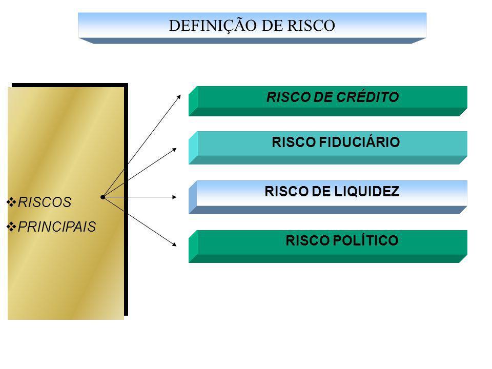 DEFINIÇÃO DE RISCO RISCO DE CRÉDITO RISCO FIDUCIÁRIO RISCOS PRINCIPAIS