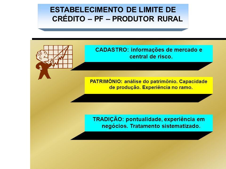 ESTABELECIMENTO DE LIMITE DE CRÉDITO – PF – PRODUTOR RURAL