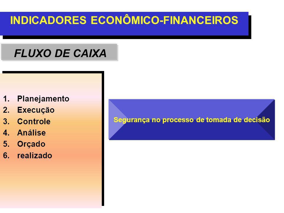 INDICADORES ECONÔMICO-FINANCEIROS FLUXO DE CAIXA