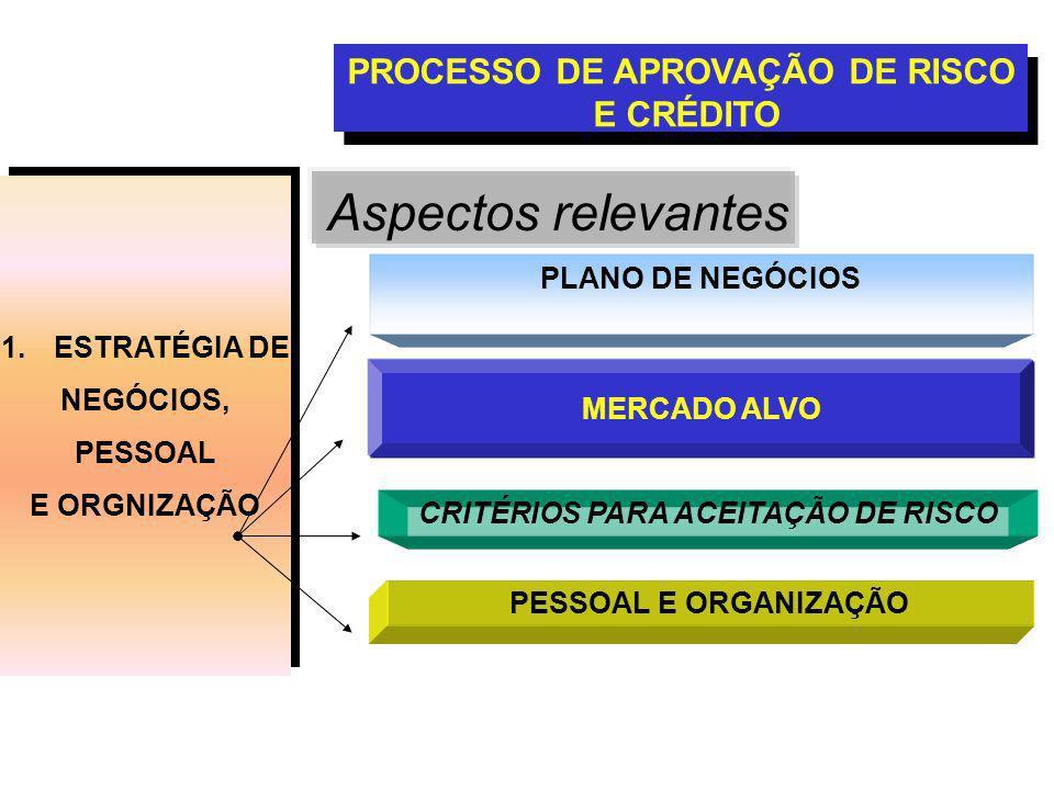 Aspectos relevantes PROCESSO DE APROVAÇÃO DE RISCO E CRÉDITO