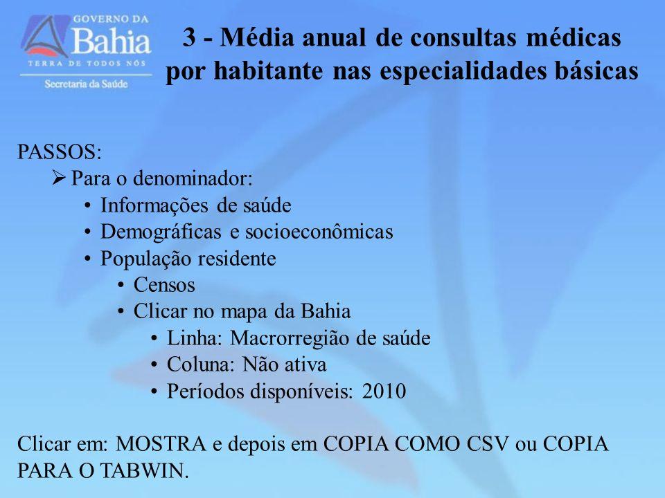 3 - Média anual de consultas médicas por habitante nas especialidades básicas