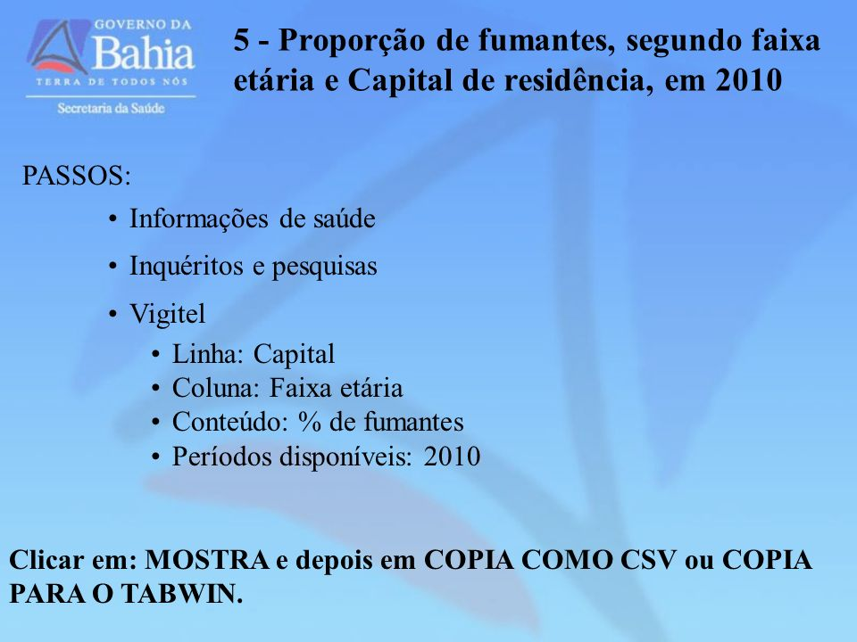 5 - Proporção de fumantes, segundo faixa etária e Capital de residência, em 2010