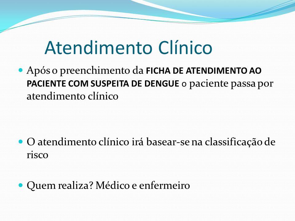 Atendimento ClínicoApós o preenchimento da FICHA DE ATENDIMENTO AO PACIENTE COM SUSPEITA DE DENGUE o paciente passa por atendimento clínico.
