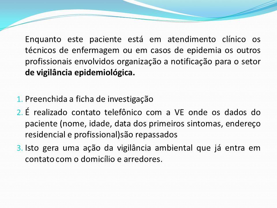 Enquanto este paciente está em atendimento clínico os técnicos de enfermagem ou em casos de epidemia os outros profissionais envolvidos organização a notificação para o setor de vigilância epidemiológica.