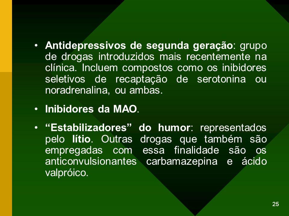 Antidepressivos de segunda geração: grupo de drogas introduzidos mais recentemente na clínica. Incluem compostos como os inibidores seletivos de recaptação de serotonina ou noradrenalina, ou ambas.