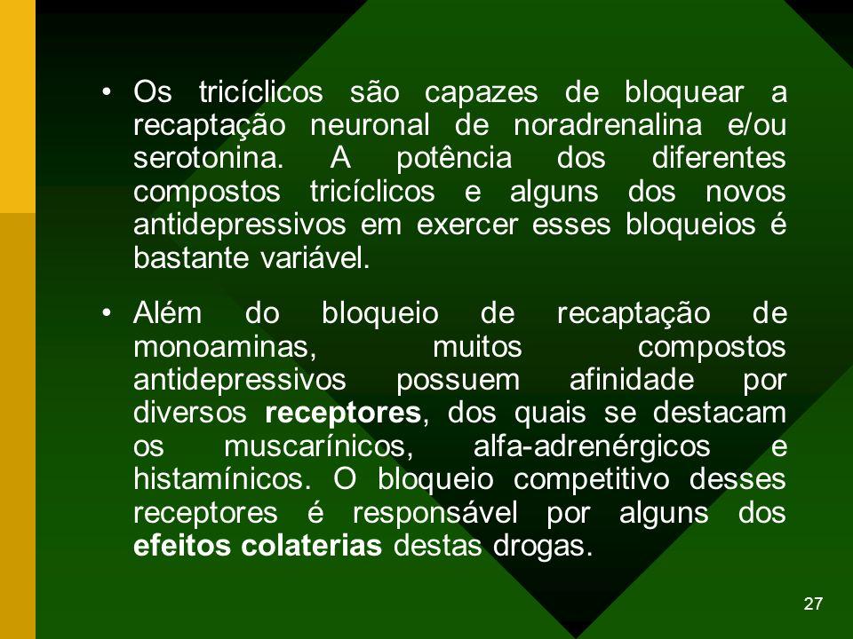 Os tricíclicos são capazes de bloquear a recaptação neuronal de noradrenalina e/ou serotonina. A potência dos diferentes compostos tricíclicos e alguns dos novos antidepressivos em exercer esses bloqueios é bastante variável.