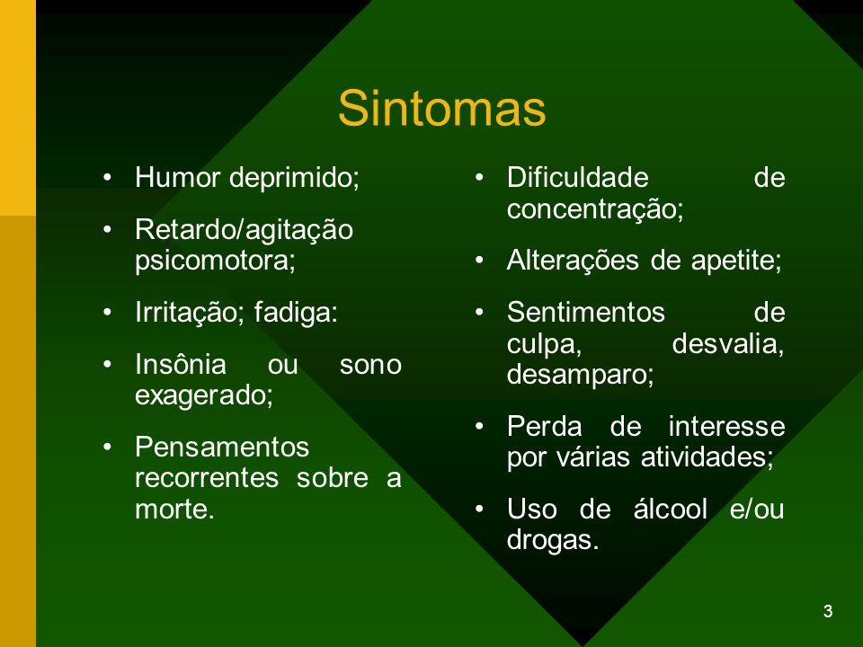 Sintomas Humor deprimido; Retardo/agitação psicomotora;