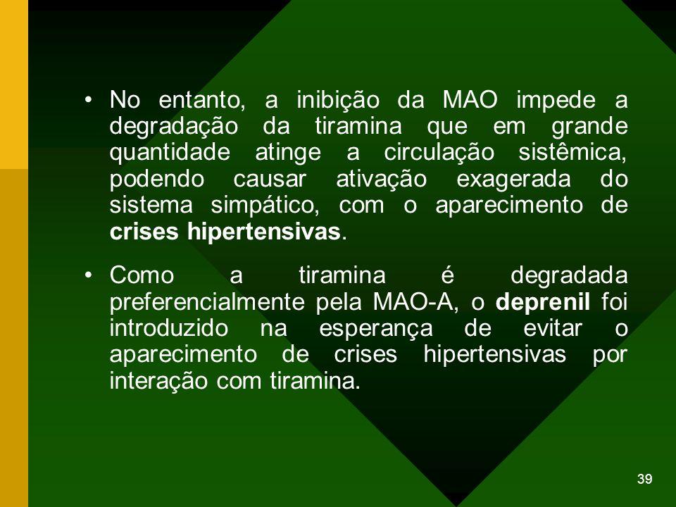 No entanto, a inibição da MAO impede a degradação da tiramina que em grande quantidade atinge a circulação sistêmica, podendo causar ativação exagerada do sistema simpático, com o aparecimento de crises hipertensivas.