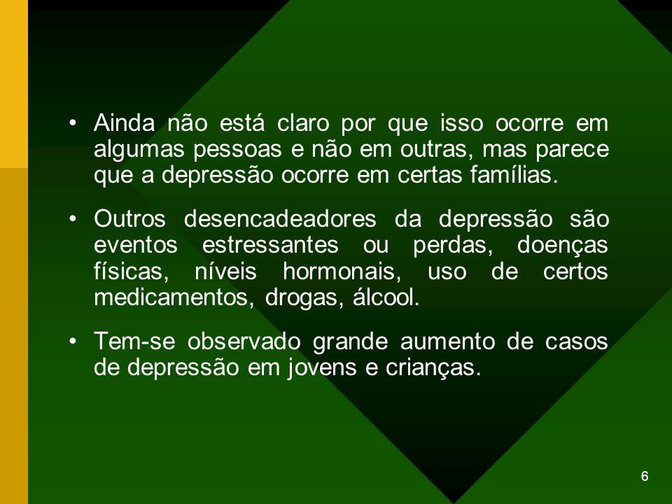 Ainda não está claro por que isso ocorre em algumas pessoas e não em outras, mas parece que a depressão ocorre em certas famílias.