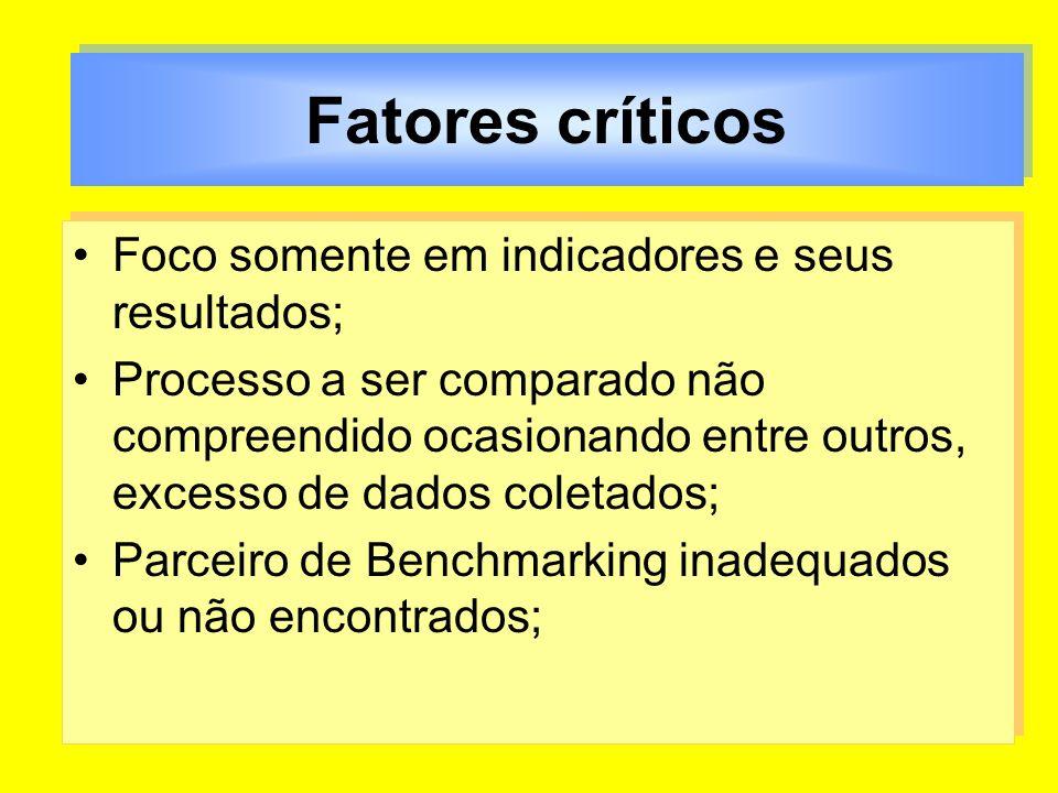 Fatores críticos Foco somente em indicadores e seus resultados;