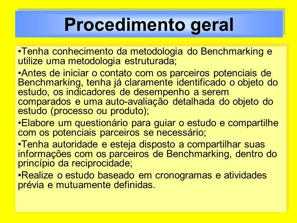 Procedimento geral Tenha conhecimento da metodologia do Benchmarking e utilize uma metodologia estruturada;