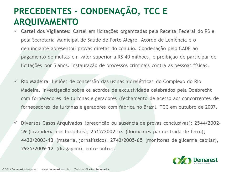 PRECEDENTES - CONDENAÇÃO, TCC E ARQUIVAMENTO