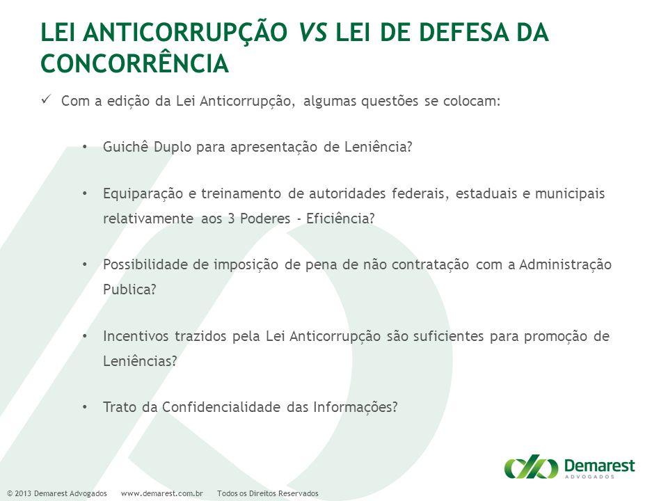 LEI ANTICORRUPÇÃO VS LEI DE DEFESA DA CONCORRÊNCIA