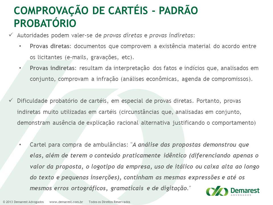 COMPROVAÇÃO DE CARTÉIS - PADRÃO PROBATÓRIO